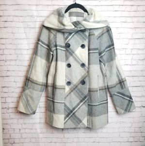 ZARA Basic plaid wool hooded shawl collar peacoat